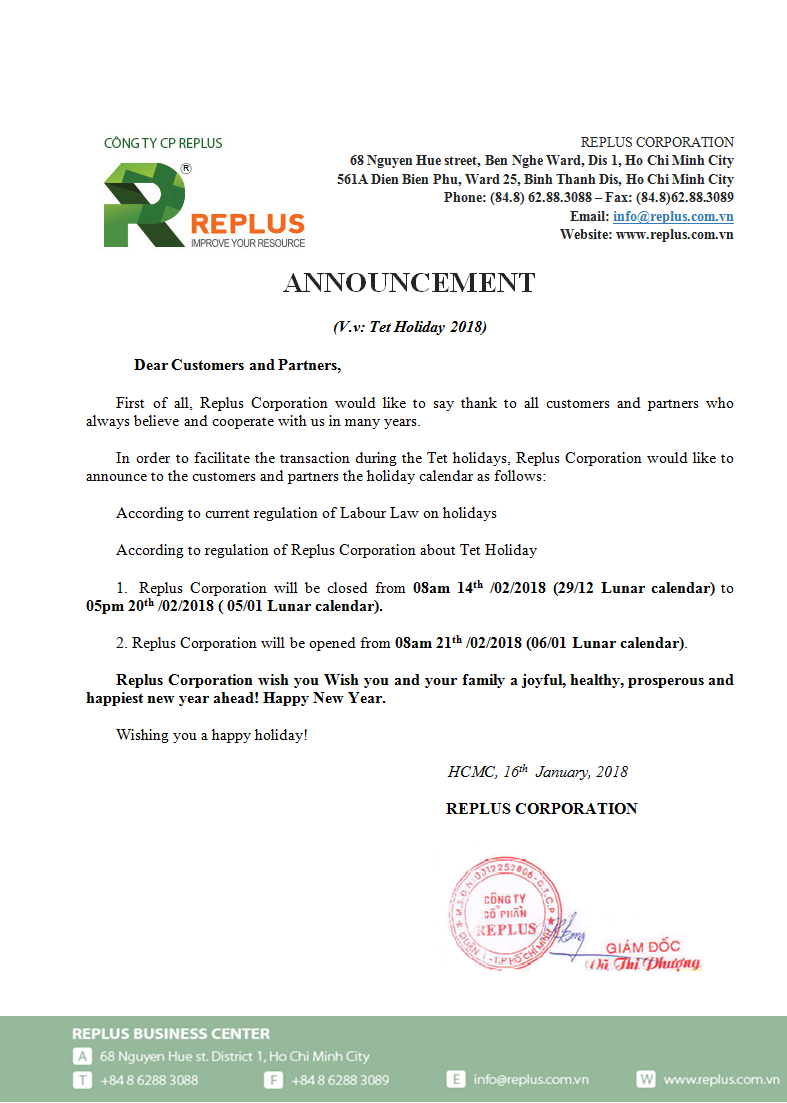Announcement of Tet holidays 2018 5